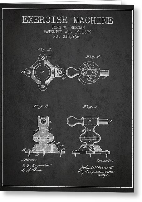 Exercise Machine Patent From 1879 - Charcoal Greeting Card by Aged Pixel