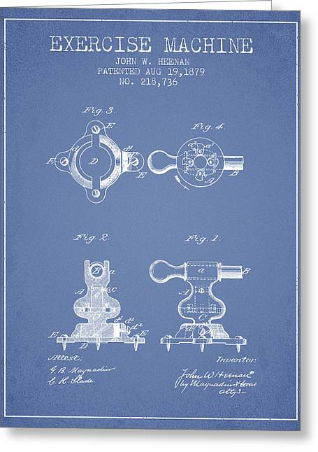 Exercise Machine Patent From 1879 - Light Blue Greeting Card by Aged Pixel