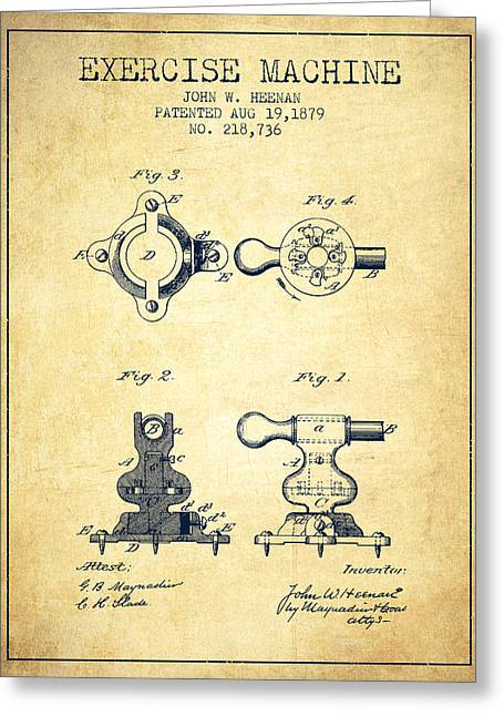 Exercise Machine Patent From 1879 - Vintage Greeting Card by Aged Pixel