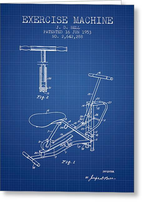 Exercise Machine Patent From 1953 - Blueprint Greeting Card by Aged Pixel