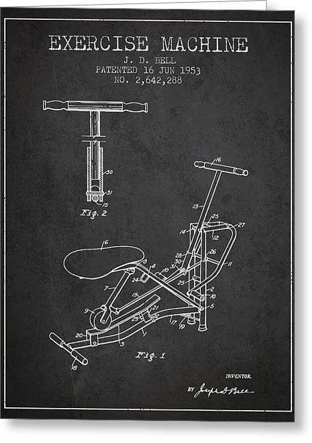 Exercise Machine Patent From 1953 - Charcoal Greeting Card by Aged Pixel