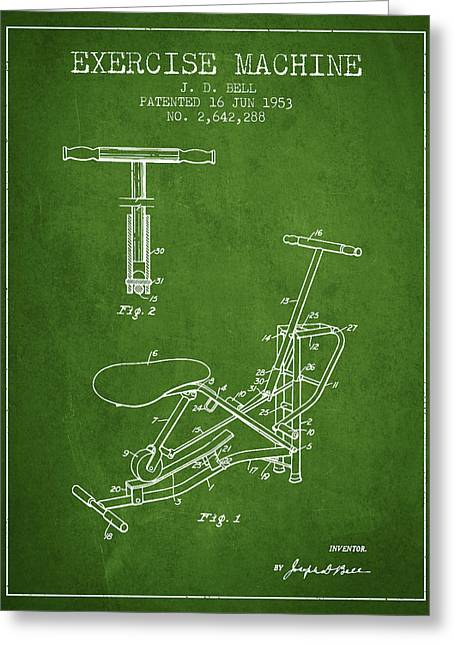 Exercise Machine Patent From 1953 - Green Greeting Card by Aged Pixel