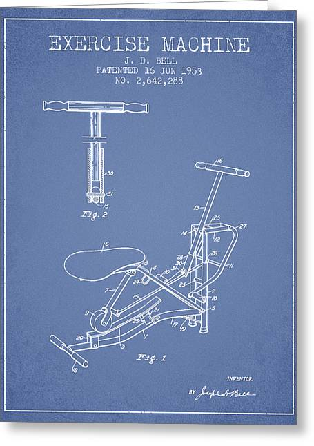 Exercise Machine Patent From 1953 - Light Blue Greeting Card by Aged Pixel