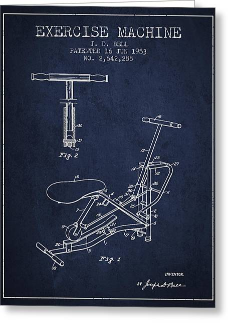 Exercise Machine Patent From 1953 - Navy Blue Greeting Card by Aged Pixel