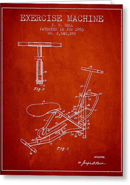Exercise Machine Patent From 1953 - Red Greeting Card by Aged Pixel
