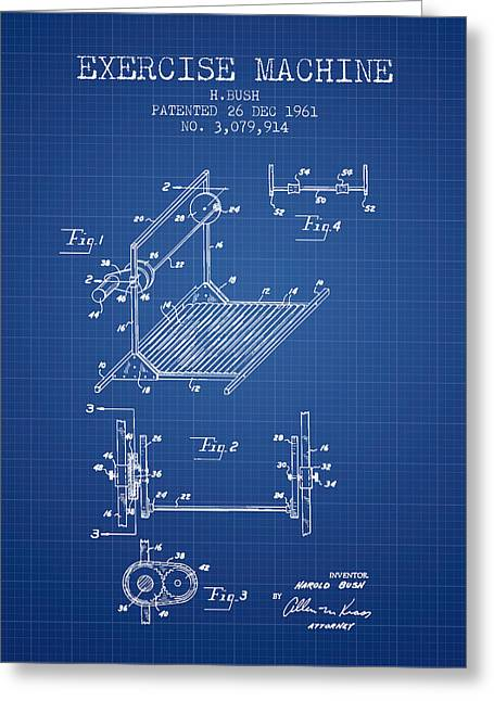 Exercise Machine Patent From 1961 - Blueprint Greeting Card by Aged Pixel