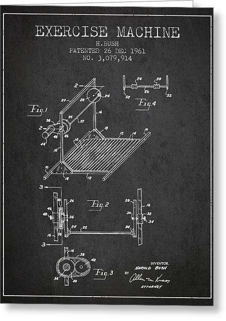 Exercise Machine Patent From 1961 - Charcoal Greeting Card by Aged Pixel