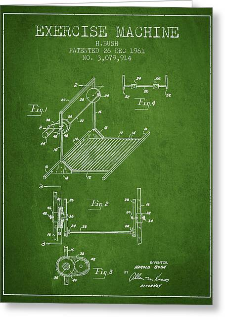 Exercise Machine Patent From 1961 - Green Greeting Card by Aged Pixel