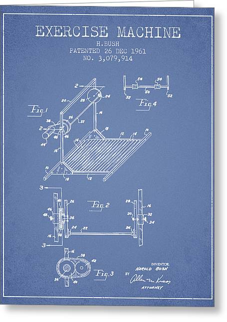 Exercise Machine Patent From 1961 - Light Blue Greeting Card by Aged Pixel