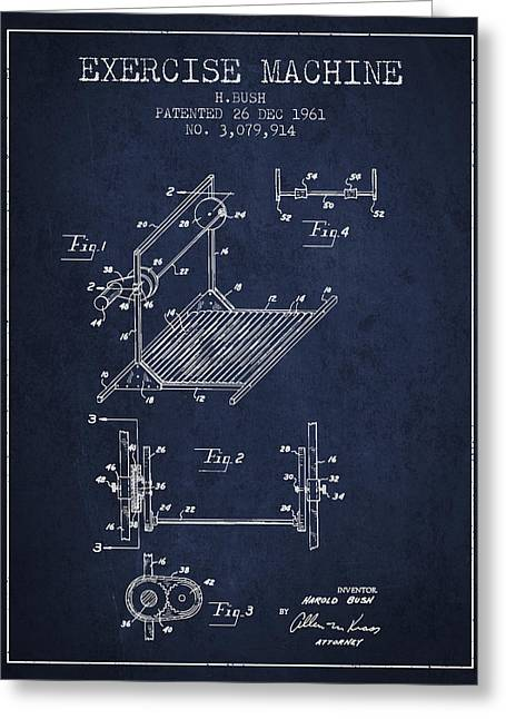 Exercise Machine Patent From 1961 - Navy Blue Greeting Card by Aged Pixel