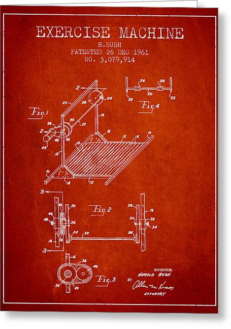 Exercise Machine Patent From 1961 - Red Greeting Card by Aged Pixel