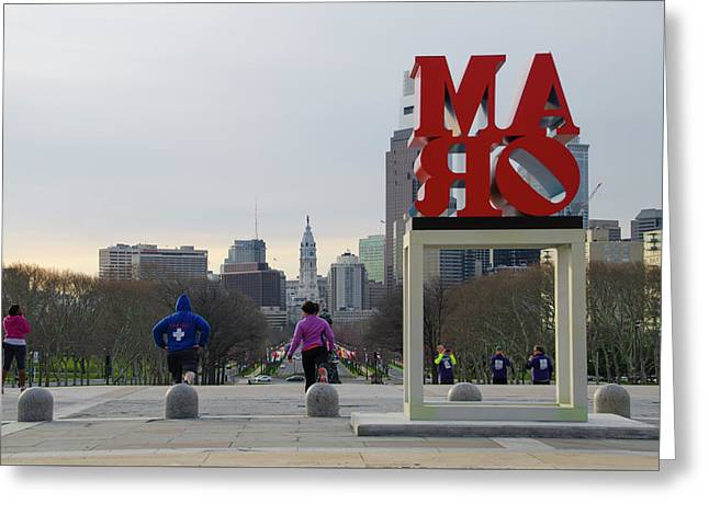 Exercizing At The Art Museum - Philadelphia Greeting Card by Bill Cannon