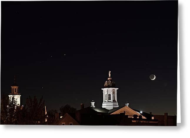 Exeter By Moonlight Greeting Card