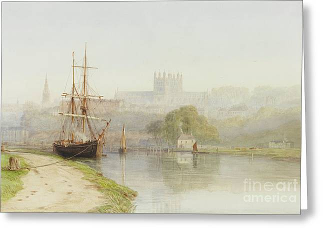 Exeter Canal Below Exeter Cathedral Greeting Card