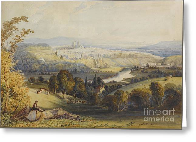 Exeter From Exwick, 1773 Greeting Card by William Havell