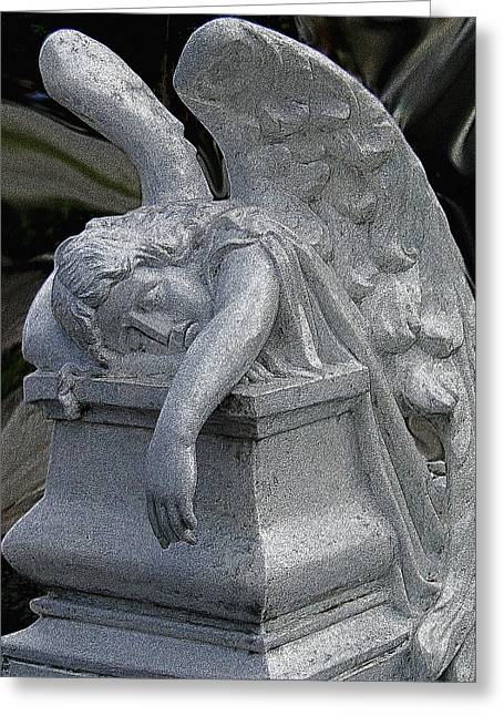 Exhausted Guardian Angel Greeting Card by Al Bourassa