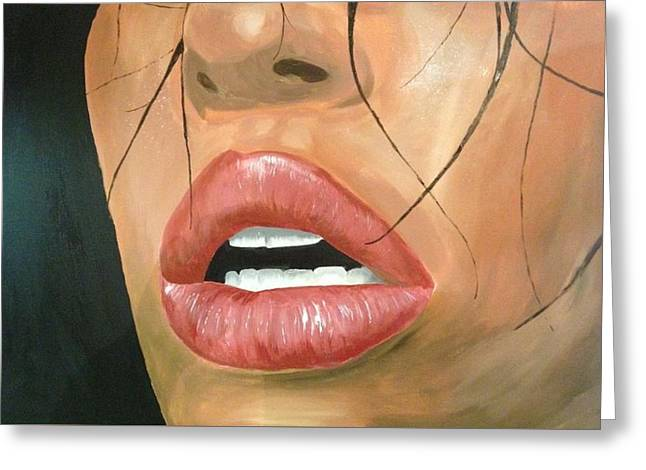 Exhaustive Lips Greeting Card by Michael McKenzie