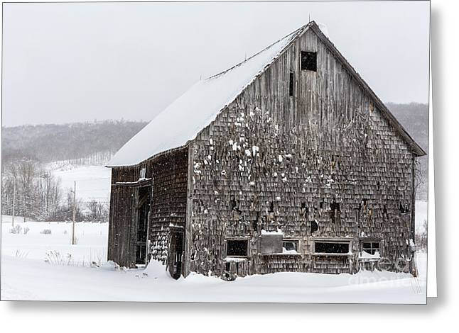 Exit 14 Old Abandoned Wooden Barn Winter Grantham New Hampshire Greeting Card