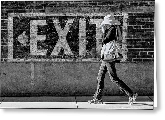 Exit Bw Greeting Card