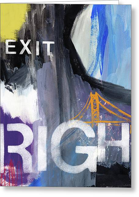 Exit Right- Art By Linda Woods Greeting Card by Linda Woods