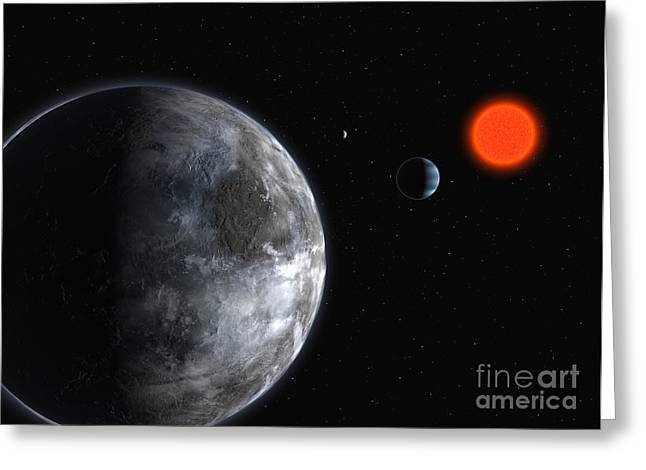 Exoplanets, Gliese 581 Planetary System Greeting Card by European Southern Observatory