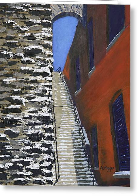 Exorcist Stairs In Winter Greeting Card