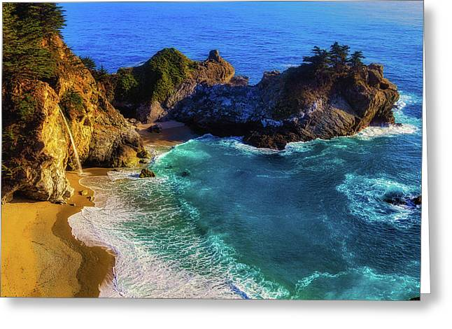 Exotic Big Sur Waterfall Greeting Card