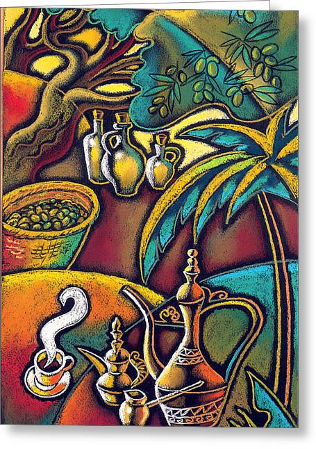 Greeting Card featuring the painting Exotic East, Coffee And Olive Oil by Leon Zernitsky