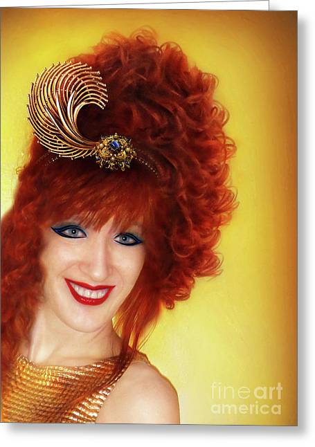 Exotic Hairstyle. Model Sofia Metal Queen Greeting Card