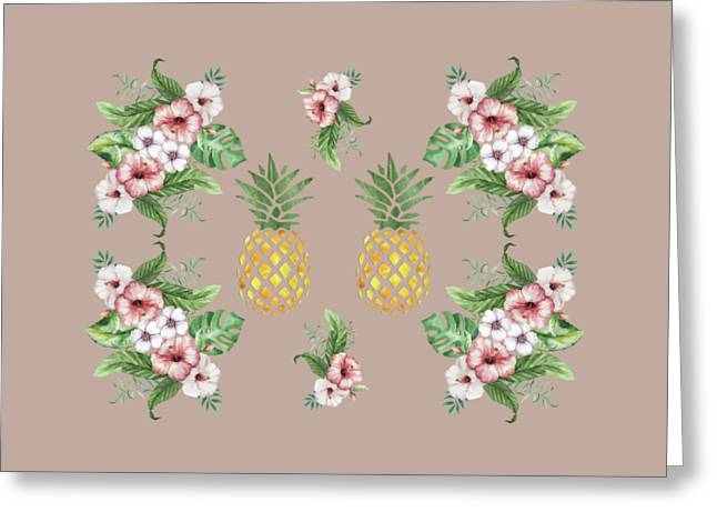 Greeting Card featuring the painting Exotic Hawaiian Flowers And Pineapple by Georgeta Blanaru