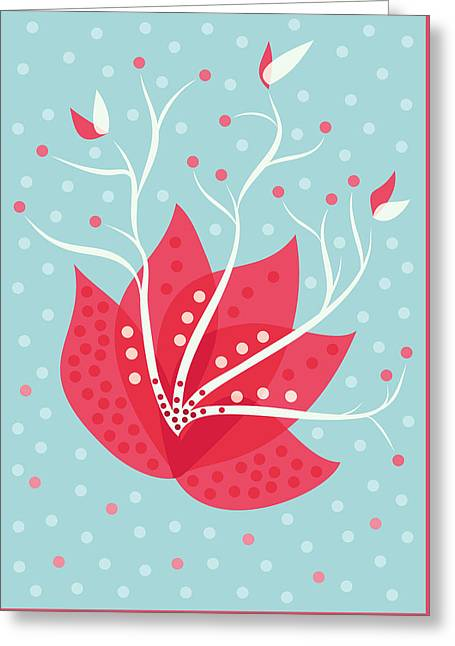 Exotic Pink Flower And Dots Greeting Card by Boriana Giormova