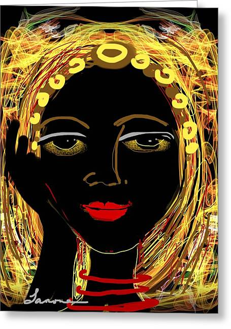 Exotic Woman Greeting Card by Elaine Lanoue