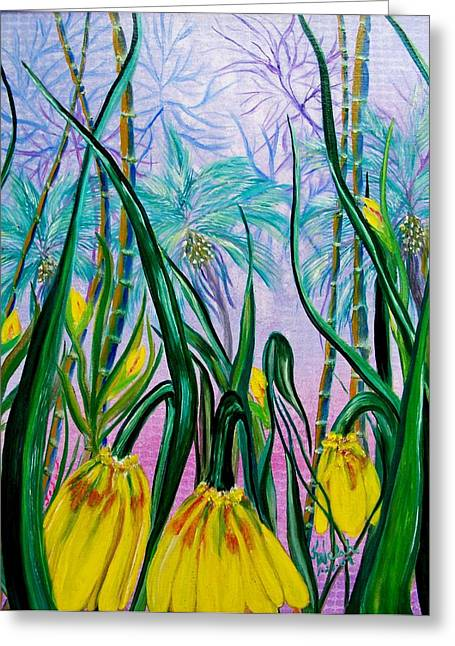 Exotic Yellow Blooms Greeting Card by Kathern Welsh