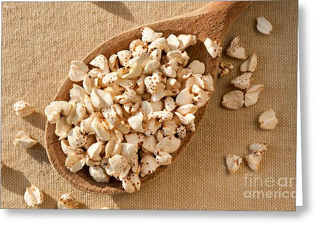 Expanded Popped Buckwheat Groats Greeting Card by Arletta Cwalina