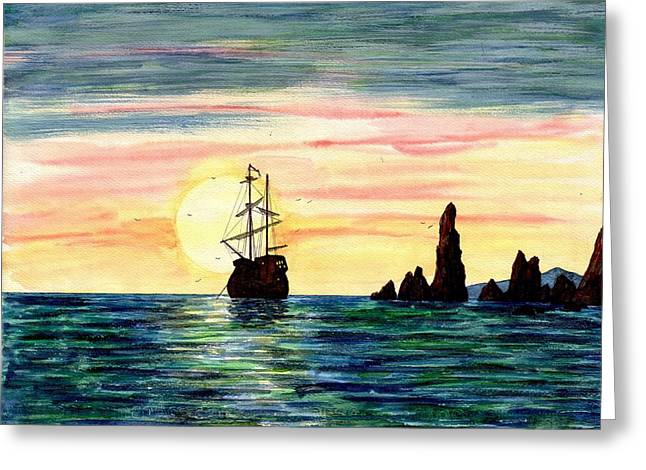 Galleons Drawings Greeting Cards - Expedition Greeting Card by Andrew  Pimenov