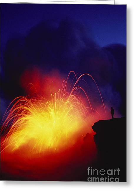Exploding Lava And Person Greeting Card by Greg Vaughn - Printscapes