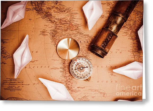 Explorer Desk With Compass, Map And Spyglass Greeting Card by Jorgo Photography - Wall Art Gallery