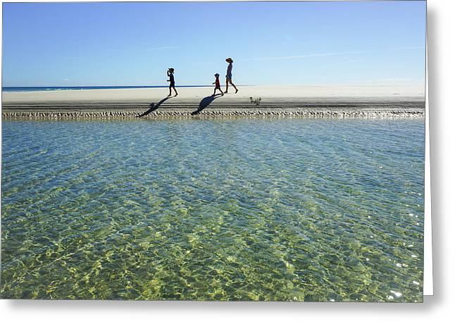 Exploring A Tidal Beach Lagoon Greeting Card