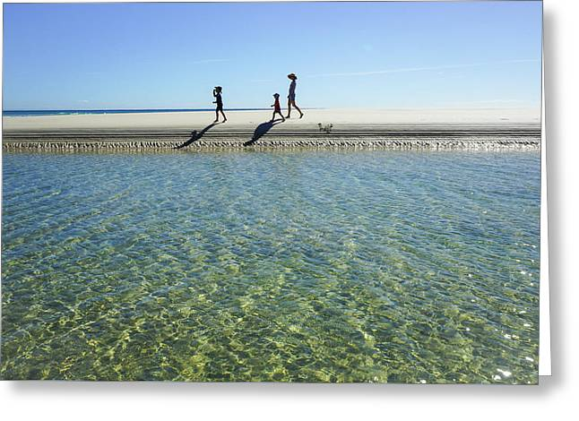Exploring A Tidal Beach Lagoon Greeting Card