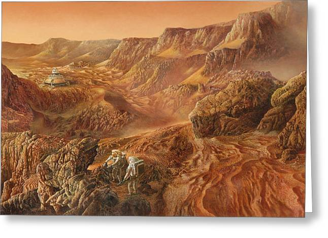 Exploring Mars Nanedi Valles Greeting Card by Don Dixon