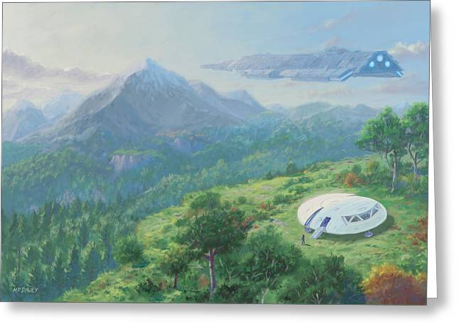 Exploring New Landscape Spaceship Greeting Card