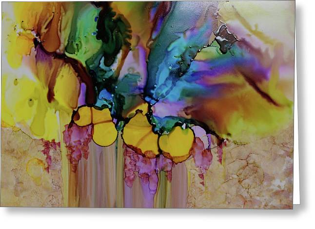 Greeting Card featuring the painting Explosion Of Petals by Joanne Smoley
