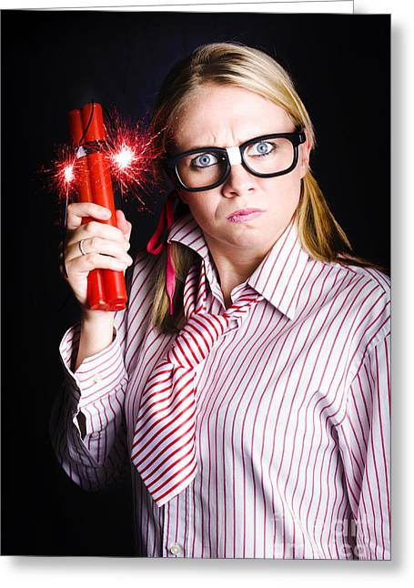 Explosive Nerd Erupts With Fury Greeting Card by Jorgo Photography - Wall Art Gallery