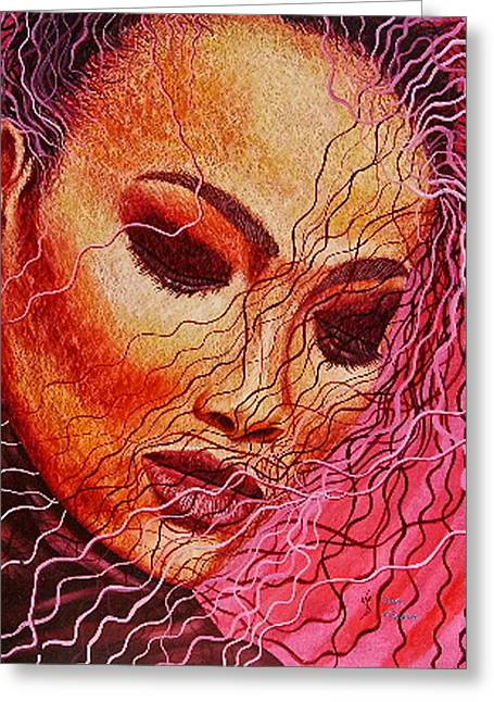 Expression In Hair Greeting Card by Shahid Muqaddim