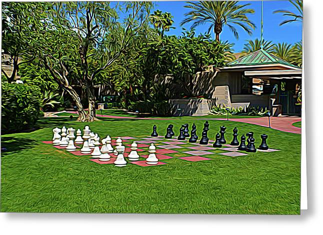 Greeting Card featuring the photograph Expressionalism Chess At The Biltmore by Aimee L Maher Photography and Art Visit ALMGallerydotcom