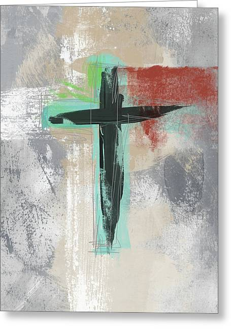 Expressionist Cross 3- Art By Linda Woods Greeting Card