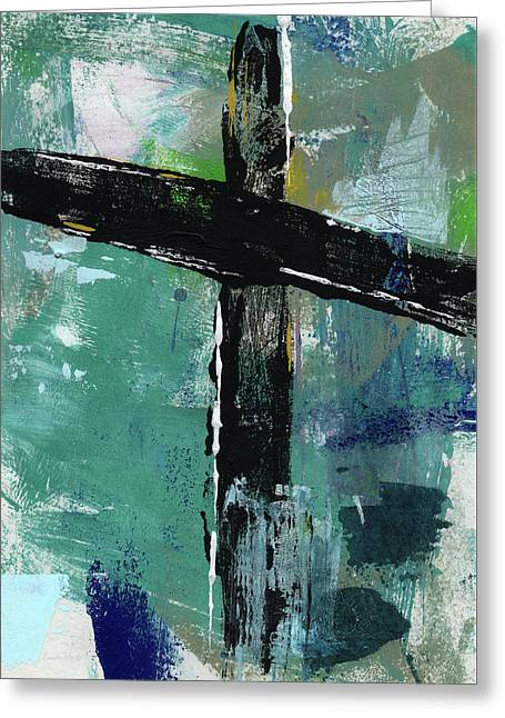 Expressionist Cross 8- Art By Linda Woods Greeting Card