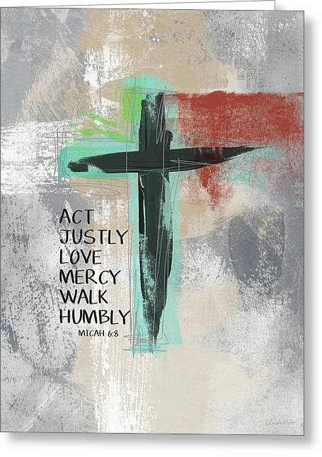 Expressionist Cross Love Mercy- Art By Linda Woods Greeting Card