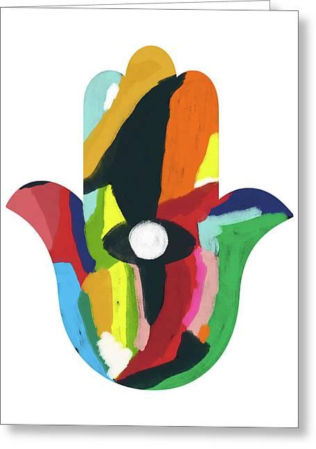 Expressionist Hamsa- Art By Linda Woods Greeting Card by Linda Woods
