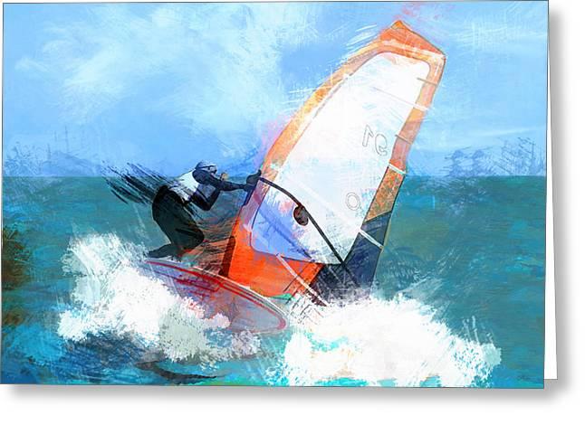 Expressionist Orange Sail Windsurfer  Greeting Card by Elaine Plesser